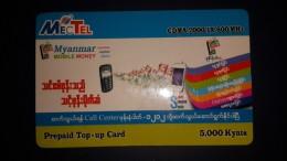 Myanmar-MECTEL-prepiad Top-up Card-(cdma 2000ix 800mhz)-5000kyays-used Card+1card Prepiad Free - Myanmar