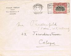 23984. Carta ANTWERPEN (Belgien) 1920. Slogan Poste Pour Avion A London - Bélgica
