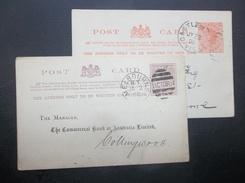 Victoria-Australia: 1890 & 1895 Postal Cards To Melbourne, Etc. (#CP10) - 1850-1912 Victoria