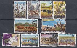 Rwanda N° 98 / 107 XX, O  Parc National De La Kagera, Les 10 Valeurs  Sans Charnière Ou Oblitérations Légères Sinon TB - Rwanda