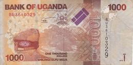 BILLETE DE UGANDA DE 1000 SHILLINGS CON UN CIERVO (DEER) (BANKNOTE) - Uganda