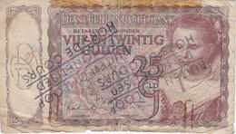 BILLETE DE HOLANDA DE 25 GULDEN DEL AÑO 1943 CON RESELLO DESMONETIZADO Y FUERA DE CURSO LEGAL (BANKNOTE) RARO - [2] 1815-… : Reino De Países Bajos