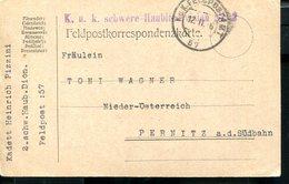 AUSTRIA WWI FELDPOST TO PERNITZ KUK SCHWERE HAUBITZ DIVISION - Cartas