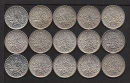 Lot De 15 Monnaies Argent De 5 F. Semeuse : 14 De 1960 Et 1 De 1961 .