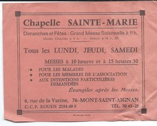 Papillon D'Information/Chapelle Sainte Marie/Mont Saint-Aignan/Pélerinages/Calendrier Des Messes/Zoller/vers1950  CAN298 - Religion & Esotérisme
