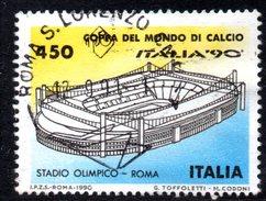 R1645 - ITALIA - 1990 - Usato - 450 Lire Coppa Rimet Di Calcio - Stadio Roma - 6. 1946-.. Repubblica