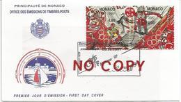 Giochi Olimpici Invernali Nagano, Monaco, 29.11.1997, Dittico Annullato Su Busta Primo Giorno Di Emissione. - Inverno