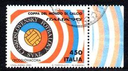 R1659 - ITALIA - 1990 - Usato - 450 Lire Coppa Rimet Di Calcio - Cecoslovacchia - 6. 1946-.. Repubblica