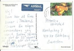 Thailand Via Sweden,POSTCARD WITH NEEDLE HOLE !!! Nice Stamp 1999 International Correspondence Week. - Thaïlande