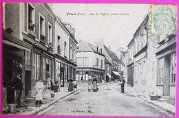Cpa Céton Rue De L'Eglise Carte Postale 61 Orne Rare Proche Le Theil Nogent Le Rotrou La Ferté Bernard Le Mans - France