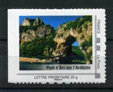 """PONT D'ARC Sur L' Ardéche Adhésif Neuf ** . Collector """" RHONE - ALPES """"  2009 - France"""