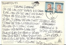 Thailand Via Sweden,POSTCARD WITH NEEDLE HOLE !!! Nice Stamp 1992 King Bhumibol Adulyadej.Postcard - Phuket. - Thailand