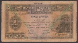 Syria,Syrie, Lebanon,Liban, 5 Pounds Livres 1939,Type C, No:41, F. - Syrie