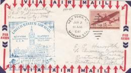 USA 1947 - Sondermarke Auf Erstflugbrief Von NEW YORK Nach GLASGOW - Vereinigte Staaten