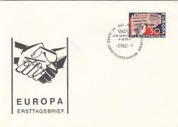 EUROPA LIECHTENSTEIN 1962 - 50 Rp Auf Erstagsbrief Mit Sonderstempel VADUZ