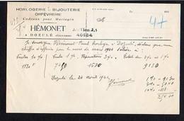 """1944 Env.  Facture Entête Horlogerie,Bijouterie,Orfèvrerie """" Hémonet """" Bijoutier à Dozulé 14 - Francia"""