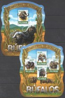 Z228 2015 MOCAMBIQUE FAUNA ANIMALS MAMIFEROS DE AFRICA BUFALOS BL+KB MNH