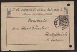 """Dt. Reich - MiNr. 45 Als EF Auf Drucksache - Gelaufen Mit Kreisstempel """"SOLINGEN 2."""" Vom 22.1.1898 - Deutschland"""