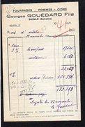 """1943.  Facture Entête Fourrages,Pommes,Cidre,"""" Georges Gouédard Fils  """" à Dozulé 14 - Francia"""