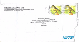 Singapore Airmail Birds 2007 Yellow Wagtail (Motacilla Flava) 45c Postal History Cover Sent To Pakistan. - Cigognes & échassiers