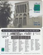 U.A.E. - Wind Tower, Etisalat Prepaid Card Dhs 30(reverse 7), Used
