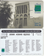 U.A.E. - Wind Tower, Etisalat Prepaid Card Dhs 30(reverse 3), Used