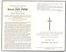 Devotie - Devotion - Silvie Stevens - Sijsele 1885 - 1958 - Leon Neyt - Esquela
