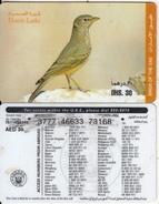 U.A.E. - Bird, Desert Larks, Etisalat Prepaid Card Dhs 30(reverse 5), Used