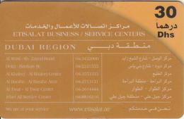 U.A.E. - Etisalat Business/Service Centers, Etisalat Prepaid Card Dhs 30(reverse 1), Used