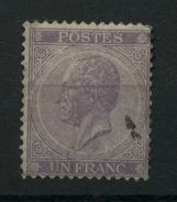 21   1F  De Belgique    Ø Super Légère   Cote 175 E - 1865-1866 Profil Gauche