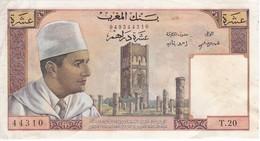 BILLETE DE MARRUECOS DE 10 DIRHAMS DEL AÑO 1960  (BANKNOTE) - Marruecos