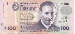 BILLETE DE URUGUAY DE 100 PESOS DEL AÑO 2008  (BANK NOTE) - Uruguay