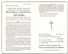 Devotie - Devotion - Maria Ludovica Therssen - Nieuwkapelle 1891 - 1957 - Remi Thieren - Décès
