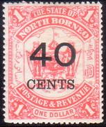 NORTH BORNEO 1895 SG #91 40c On $1 MH(heavy Hinge) CV £60 - North Borneo (...-1963)