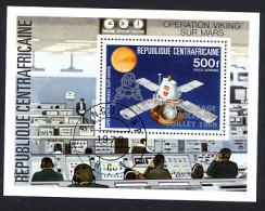 CENTRAFRIQUE 1976, VIKING SUR MARS SURCHARGE ALUNISSAGE 1969, 1 Bloc Oblitéré / Used. R449 - Africa