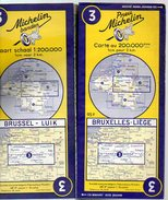 Carte Géographique MICHELIN - N° 003 - BRUXELLES-LIEGE - 1955 Contour Bleu - Wegenkaarten