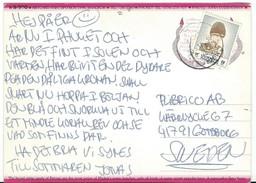 Thailand Via Sweden,POSTCARD WITH NEEDLE HOLE !!! Nice Stamp - Thaïlande