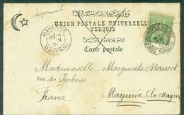 SAGE 5c Vert Jaune Type 1 Oblit 1.06.1901 Constantinople Galata,arrivé Mayenne Le 15 - Postmark Collection (Covers)