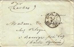1854- Enveloppe En Port Du De Paris Cad De Route 3 ° D  /  11  ( 30 C ) Pour Barrèges Près Luz - Postmark Collection (Covers)