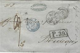 1867- Letter From KJOBENHAVN  To Bordeaux - Rail Cancellation 181 +  P.39 Framed  ( Aachen ) - 1864-04 (Christian IX)
