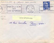 SEINE-ET-OISE : ENGHIEN-LES-BAINS S. ET O. OM RBV 4-10-1954 ... / SES / EAUX SULFUREUSES - Mechanical Postmarks (Advertisement)