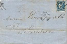 19 FEVR. 1870 !!!!!!!!!!!!! - Lettre De La Rochelle ( Ch. Mar. ) Cad Amb. LA ROCHELLE A PARIS Affr. N° 46 Oblit L LA R P - Poststempel (Briefe)
