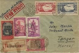 1942-enveloppe Par Avion RECC. De Bamako Pour Tanger -affr. à 6,60 F. Pour Tanger