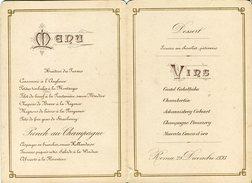 MENU'  CASA REALE - ROMA 28 DICEMBRE 1893 - Menus