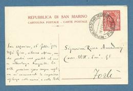 1934 - REPUBBLICA DI SAN MARINO - INTERO POSTALE 30 C. Carta Bianca  VIAGGIATO A FORLI´ - Saint-Marin