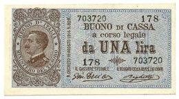 1 LIRA BUONO DI CASSA EFFIGE VITTORIO EMANUELE III NUM. 178 28/12/1917 SPL+/SUP - [ 1] …-1946 : Royaume