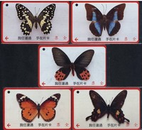 Set Of 5 Taiwan Early Bus Ticket Cards Butterflies Butterfly Insect - Cars