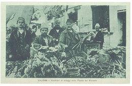 Cpa Albanie - Valona - Venditori Di Ortaggi Nella Piazza Del Mercato - Albanie