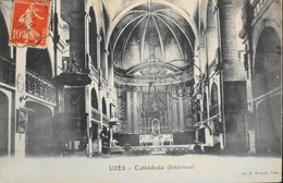 CPA - FRANCE - Uzès Est Situé Dans Le Départ. Du Gard - La Cathédrale (Intérieur) - Daté 1914 - TBE