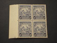 BARBADOS - 1925/32 CAVALLI  3 P., In Quartina(block Of Four) - NUOVI(++) - Barbados (...-1966)